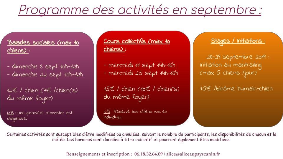 Programme de septembre